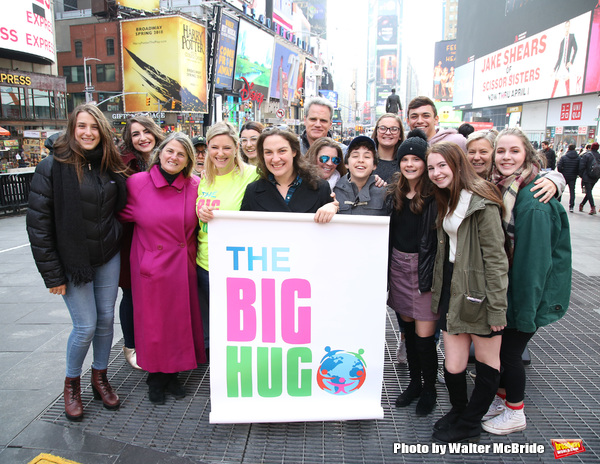 Laura Heywood with Leah Lane, Bonnie Comley, Michael Park, Laura Nowark and  Anthony Rosenthal with fellow huggers