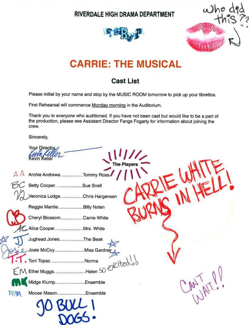 Things are Going to Get Bloody as RIVERDALE will Perform CARRIE: THE MUSICAL this Spring