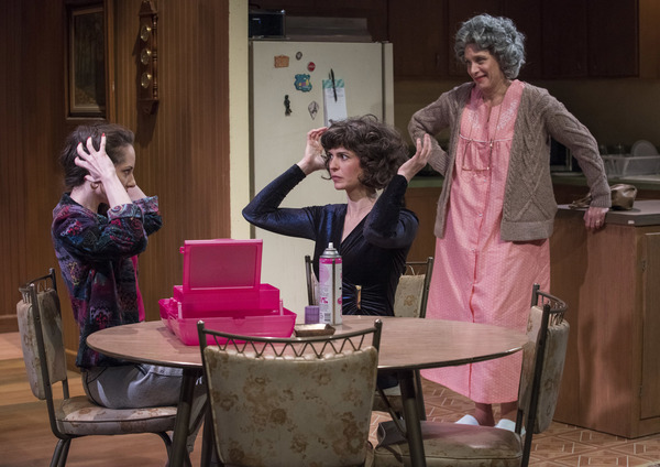 (left to right) Stella Martin, Lucy Carapetyan and Lynne Baker in Raven Theatre's Chicago premiere of NICE GIRL, by Melissa Ross, directed by Lauren Shouse. Photo by Michael Brosilow.