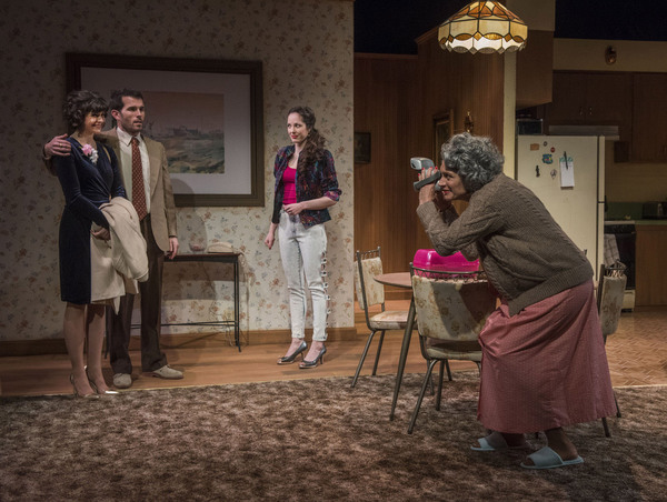 (left to right) Lucy Carapetyan, Benjamin Sprunger, Stella Martin and Lynne Baker in Raven Theatre's Chicago premiere of NICE GIRL, by Melissa Ross, directed by Lauren Shouse. Photo by Michael Brosilow.