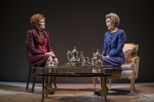 """Mary Beth Fisher (Raisa Gorbachev) and Deanna Dunagan (Nancy Reagan) in Blind Date by Rogelio Martinez, directed by Robert Falls at Goodman Theatre (January 20 â€"""" February 25, 2018). GoodmanTheatre.org/blinddate"""