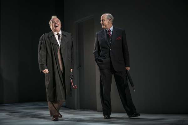 """Steve Pickering (Eduard Shevardnadze) and Jim Ortlieb (George Shultz) in Blind Date by Rogelio Martinez, directed by Robert Falls at Goodman Theatre (January 20 â€"""" February 25, 2018). GoodmanTheatre.org/blinddate"""
