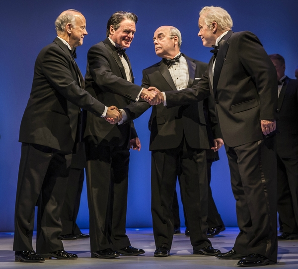 Jim  Ortlieb (George Shultz), Rob Riley  (Ronald Reagan), William Dick (Mikhail Gorbachev), and Steve Pickering (Eduard Shevardnadze) in Blind Date by Rogelio Martinez, directed by Robert Falls at Goodman Theatre (January 20 – February 25, 2018). Goodma