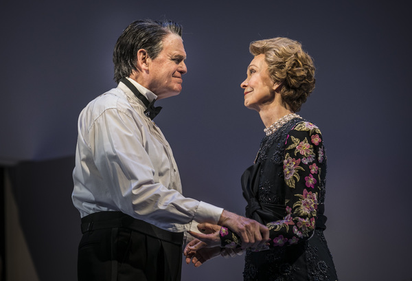 Rob Riley  (Ronald Reagan) and Deanna Dunagan (Nancy Reagan) in Blind Date by Rogelio Martinez, directed by Robert Falls at Goodman Theatre (January 20 – February 25, 2018). GoodmanTheatre.org/blinddate