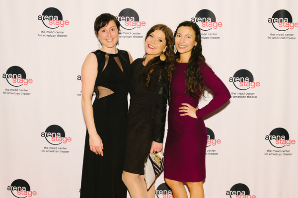 Dorea Schmidt (Sarah Bird Northrup/Flora), playwright Mary Kathryn Nagle and Kyla García (Sarah Polson) at the opening night for Sovereignty, January 24, 2018, at Arena Stage at the Mead Center for American Theater. Photo by Cameron Whitman