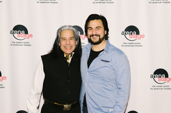 Andrew Roa (Major Ridge/Roger Ridge) and Jake Waid (John Joss/Jim Ross) at the opening night for Sovereignty, January 24, 2018, at Arena Stage at the Mead Center for American Theater. Photo by Cameron Whitman