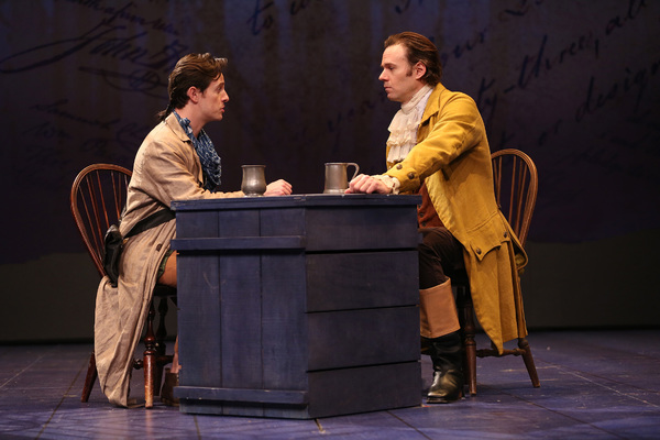 """Christopher Dinolfo as Christian and Michael Halling as Thomas Jefferson in the Ford's Theatre production of Timberlake Wertenbaker's """"Jefferson's Garden,� directed by Nataki Garrett. Photo by Carol Rosegg."""