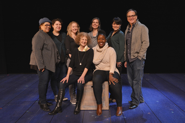 "Playwright Timberlake Wertenbaker and Director Nataki Garrett (both seated) with the design team of ""Jefferson's Garden� at Ford's Theatre. Second Row (L to R): Jennifer L. Nelson (Dramaturgy), Ivania Stack (Costume Design), Anne Nesmith (Hair and"