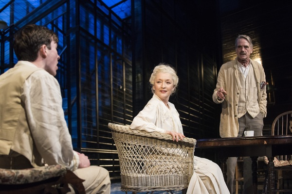 Matthew Beard as Edmund Tyrone Lesley Manville as Mary Tyrone and Jeremy Irons as James Tyrone