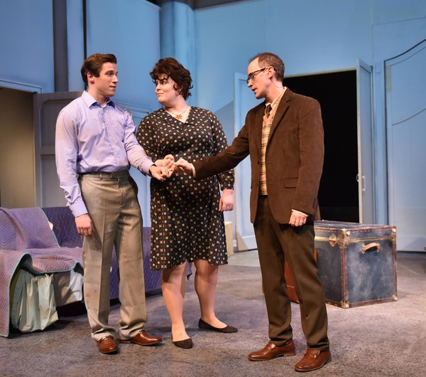 (L to R) Jim DeSelm, Neala Barron and Matt Crowle in MERRILY WE ROLL ALONG from Porchlight Music Theatre