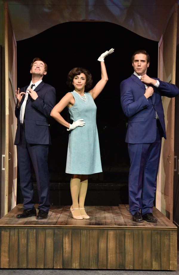 (L to R) Matt Crowle, Aja Wiltshire and Jim DeSelm in MERRILY WE ROLL ALONG from Porchlight Music Theatre