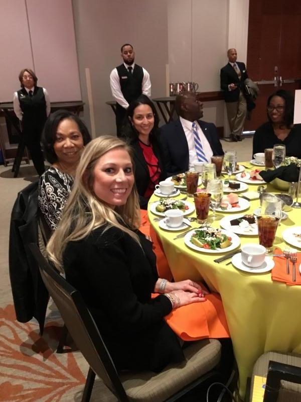 Dee Dixon (left), Congresswoman Adams (right), with guest attendee (center)