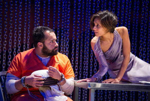 Ahmad Kamal (Malik) and Lynette Rathnam (Woman) in the world premiere production of 4,380 NIGHTS at Signature Theatre. Photo by C Stanley Photography.