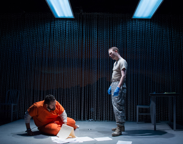 Ahmad Kamal (Malik) and Rex Daugherty (Luke) in the world premiere production of 4,380 NIGHTS at Signature Theatre. Photo by C Stanley Photography.