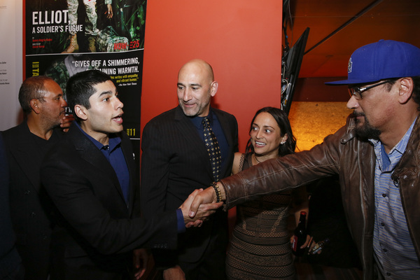 """From left, cast members Rubén Garfias, Peter Mendoza, Jason Manuel Olazábal, Caro Zeller and actor Jimmy Smits at the opening night performance of """"Elliot, A Soldier's Fugue� at Center Theatre Group's Kirk Douglas Theatre on February 3, 2018, in C"""
