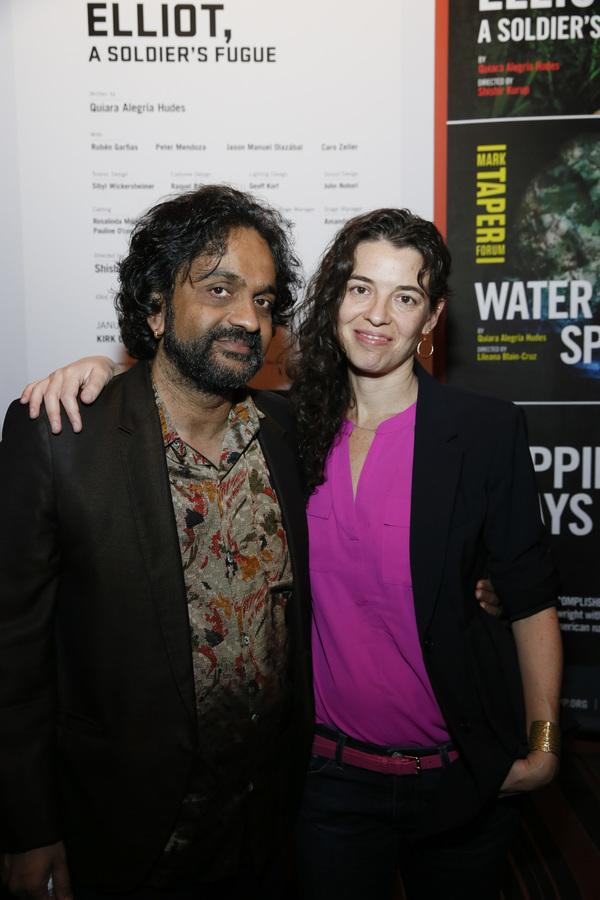 Director Shishir Kurup and playwright Quiara Alegría Hudes attend the opening nigh Photo