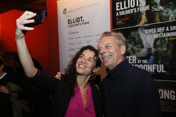 """Playwright Quiara Alegría Hudes and Center Theatre Group Artistic Director Michael Ritchie attend the opening night performance of """"Elliot, A Soldier's Fugue� at Center Theatre Group's Kirk Douglas Theatre on February 3, 2018, in Culver City, Calif"""