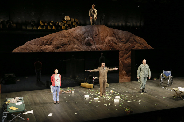 """(Top) cast member Peter Mendoza and (bottom row from left) cast members Caro Zeller, Rubén Garfias and Jason Manuel Olazábal during the curtain call for the opening night performance of """"Elliot, A Soldier's Fugue� at Center Theatre Group's Kirk Do"""