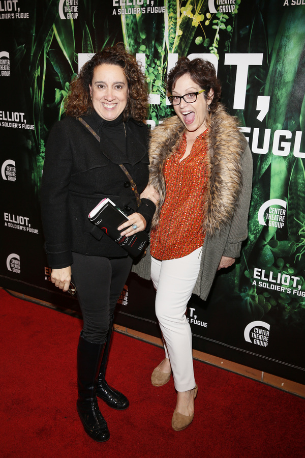 "From left, actors Eileen Galindo and Marlene Forte attend the opening night performance of �""Elliot, A Soldier's Fugue"" at Center Theatre Group's Kirk Douglas Theatre on February 3, 2018, in Culver City, California. (Photo by Ryan Miller/Capture Imag"