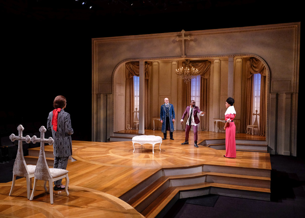 JOEY COLLINS as Tartuffe, RAY DOOLEY as Orgon, BRANDON HAYNES as Damis, and NEMUNA CEESAY as Elmire