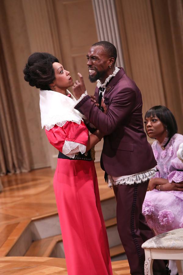 NEMUNA CEESAY as Elmire and BRANDON HAYNES as Damis