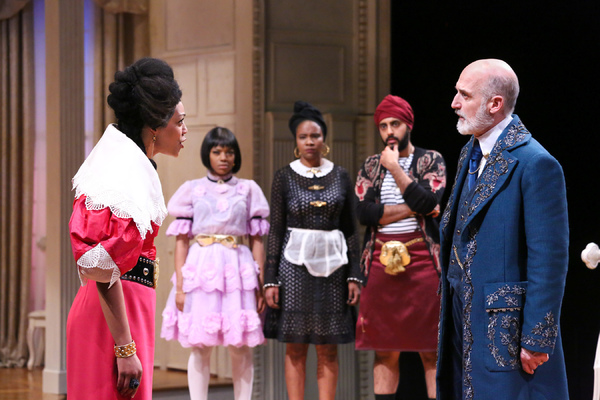 NEMUNA CEESAY as Elmire, APRIL MAE DAVIS as Mariane, SHANELLE NICOLE LEONARD as Dorine, RISHAN DHAMIJA as Cleante, and Ray Dooley as ORGON