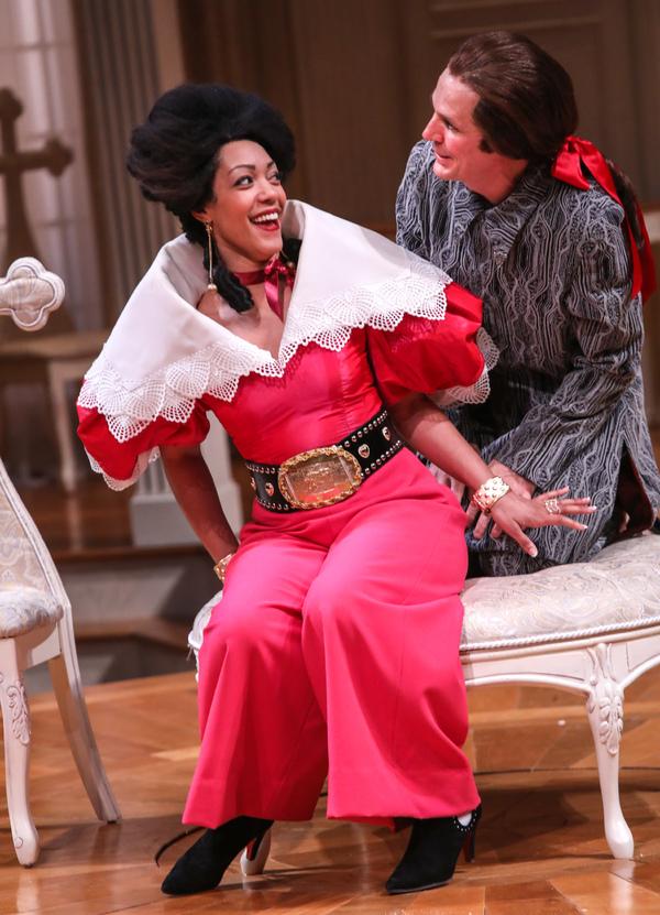 NEMUNA CEESAY as Elmire and JOEY COLLINS as Tartuffe