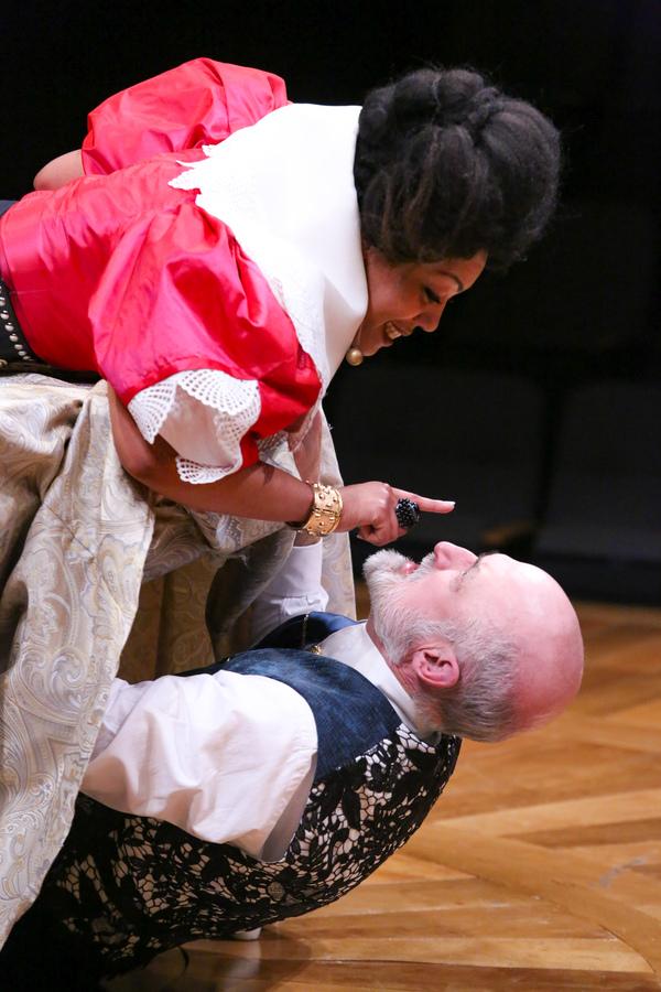 NEMUNA CEESAY as Elmire and JOEY COLLINS as Tartuffe Photo