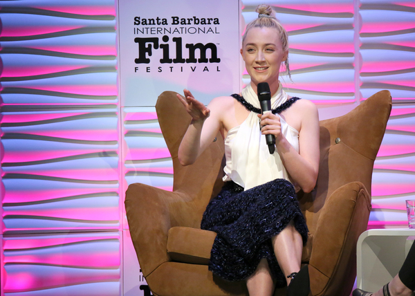 Actress Saoirse Ronan speaks onstage at the Santa Barbara Award Honoring Saoirse Ronan Presented By UGG during The 33rd Santa Barbara International Film Festival at Arlington Theatre on February 4, 2018 in Santa Barbara, California.  (Photo by Rebecca Sap
