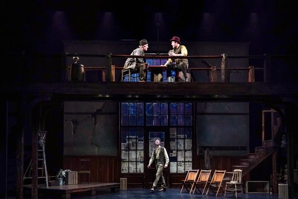 R. Hamilton Wright (Per) and Allen Fitzpatrick (Pekka) above and Christopher McLinden (Henning) below in Seattle Repertory Theatre's Ibsen in Chicago. Photo by Alan Alabastro