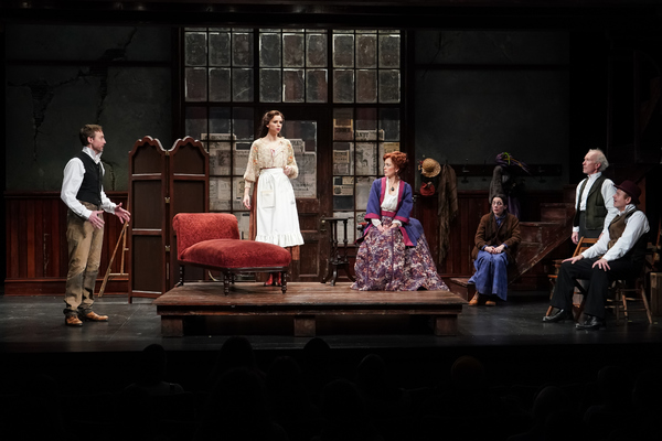 Christopher McLinden (Henning), Hannah Ruwe (Elsa), Kirsten Potter (Helga), Annette Toutonghi (Solveig), R. Hamilton Wright (Per), and Allen Fitzpatrick (Pekka) in Seattle Repertory Theatre's Ibsen in Chicago. Photo by Alan Alabastro.