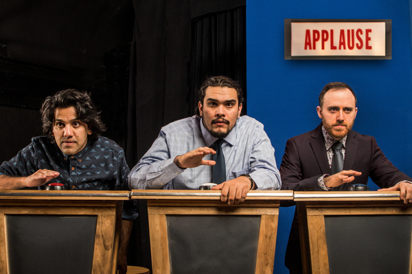 Pictured (from left): Imran Sheikh,* Andrew Aaron Valdez, Ali Andre Ali. Photo by Steve Wagner. *Actor appears courtesy of Actors' Equity Association, the Union of Professional Actors and Stage Managers in the United States.