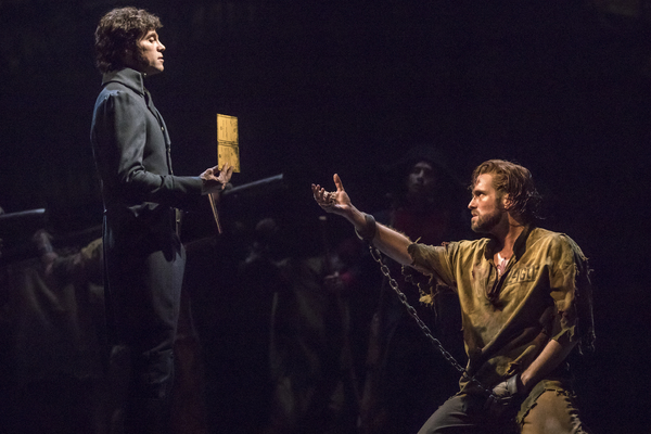 (From L) Josh Davis as 'Inspector Javert' and Nick Cartell as 'Jean Valjean' in the national tour of LES MISÉRABLES. Photo by Matthew Murphy.