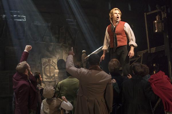 Matt Shingledecker as 'Enjolras' in the national tour of LES MISÉRABLES. Photo By Matthew Murphy.