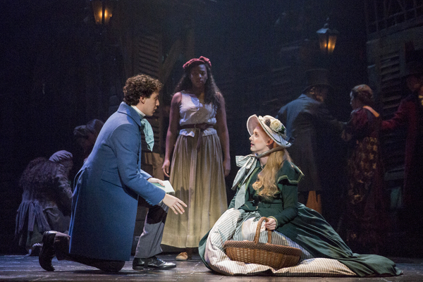 (From L) Joshua Grosso as 'Marius,' Phoenix Best as 'Éponine' and Jillian Butler as 'Cosette' in the national tour of LES MISÉRABLES. Photo by Matthew Murphy.
