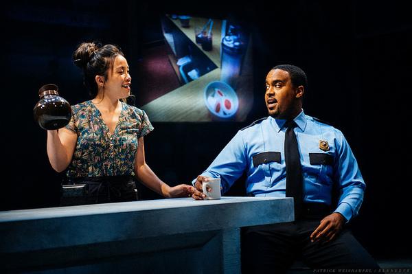 """Tina Chilip as The Waitress and Ryan Vincent Anderson as The Policeman in """"Kodachrome"""" in The Armory."""