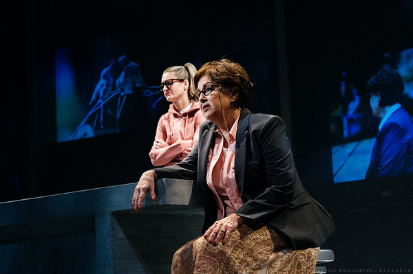 """Sharonlee McLean as The Mystery Novelist and Kelly Godell as her daughter, Marjorie, in """"Kodachrome"""" at The Armory."""
