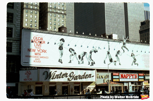 Theatre Marquee for 'Gilda Radner LIVE from New York' on June 1, 1980 at the Winter Garden Theatre in New York City.