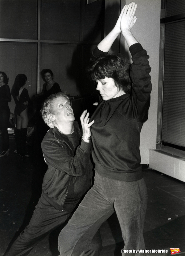 "Diana Rigg in rehearsal with Sir Robert Helpmann for ""Colette"" at their rehearsal hall on January 15, 1982 in New York City."