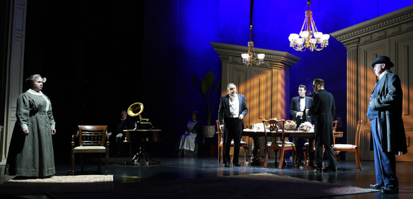 The Maltz Jupiter Theatre's sold out production of the psychological thriller An Inspector Calls is onstage through February 18. Pictured are Elizabeth Dimon, Jeffrey Burton, Sharon Taylor, Rob Donohoe, Cliff Burgess, Jeremy Webb and James Andreassi. Ph