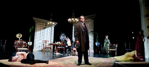 The Maltz Jupiter Theatre's sold out production of the psychological thriller An Inspector Calls is onstage through February 18. Pictured are Cliff Burgess, Rob Donohoe, James Andreassi, Elizabeth Dimon, Angie Radosh and Charlotte Bydwell. Photo by Alic