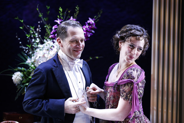 he Maltz Jupiter Theatre's sold out production of the psychological thriller An Inspector Calls is onstage through February 18. Pictured are Jeremy Webb and Charlotte Bydwell, Photo by Zak Bennett.