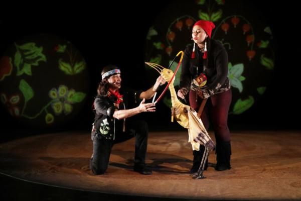 Ajijaak begins to find her voice. Ty Defoe, Henu Josephine Tarrant, Credit Theo Cotes