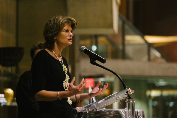 Senator Lisa Murkowski speaks after receiving the American Voice Award