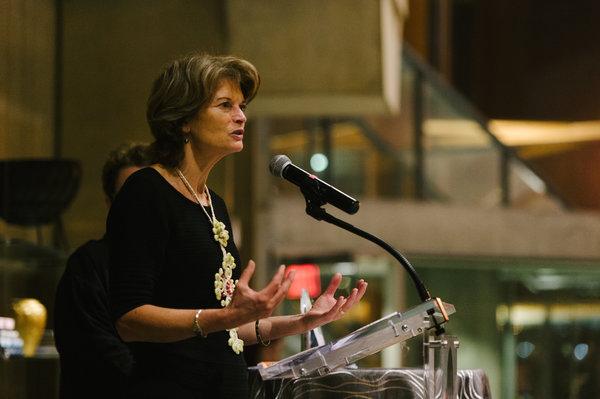 Senator Lisa Murkowski speaks after receiving the American Voice Award