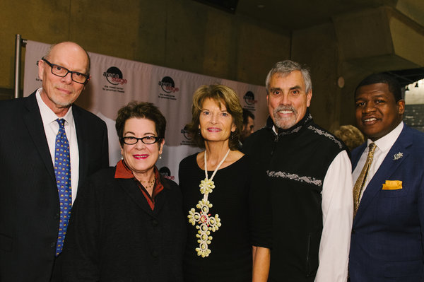 Arena Stage Executive Director Edgar Dobie, Artistic Director Molly Smith, Senator Lisa Murkowski, Verne Martell and Altria Government Affairs Associate John Mason