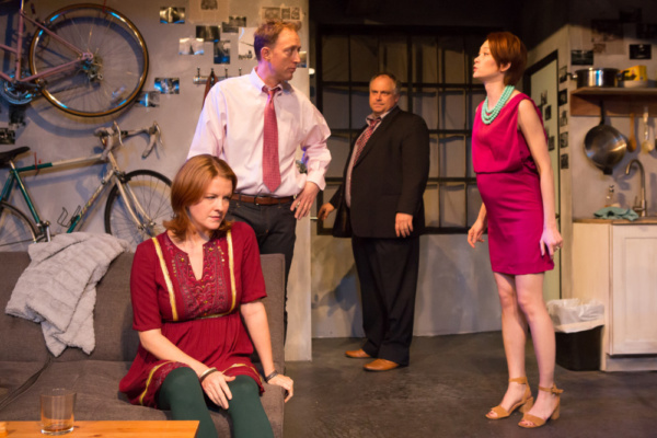 Nancy Nagrant, John Long, Ross DeGraw, and Assol Abdullina in TIME STANDS STILL. Photo by Hunter Canning