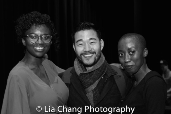 The Parsnip Ship host Iyvon Edebiri, playwright and actor Daniel K. Isaac and Ashley Theagene, Head House Manager at The Actors Fund Arts Center