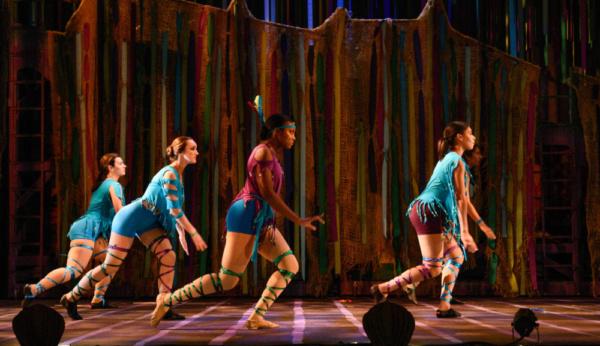 Tiger Lily (Sanci Smith) and her Warriors (Alex Spitale, Melissa Kight, Loren Bass Sanford, Sahana Sharma) in Neverland