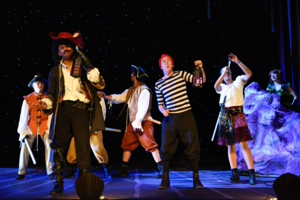 Hook (McLeod Buckham-White) and Smee (Joe Sear) try to figure out what spirit haunts the lagoon.